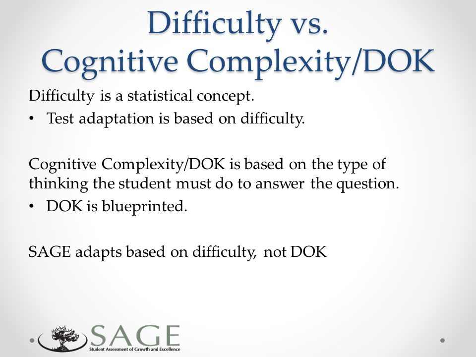 Difficulty vs. Cognitive Complexity/DOK Difficulty is a statistical concept.