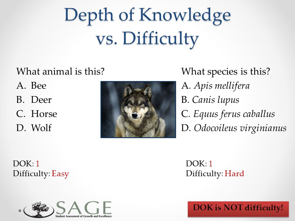 Depth of Knowledge vs. Difficulty What animal is this.