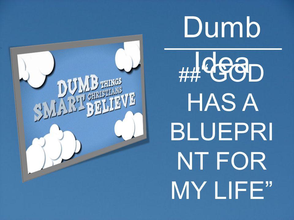 ## GOD HAS A BLUEPRI NT FOR MY LIFE Dumb Idea