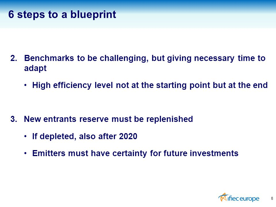 2.Benchmarks to be challenging, but giving necessary time to adapt High efficiency level not at the starting point but at the end 3.New entrants reserve must be replenished If depleted, also after 2020 Emitters must have certainty for future investments 8 6 steps to a blueprint