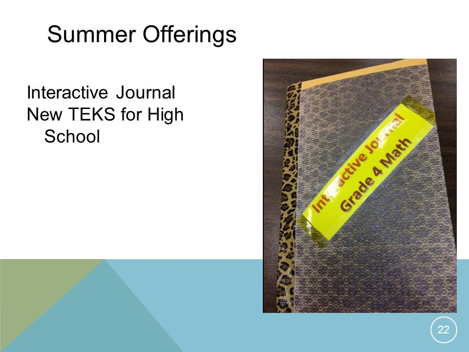 Summer Offerings Interactive Journal New TEKS for High School 22