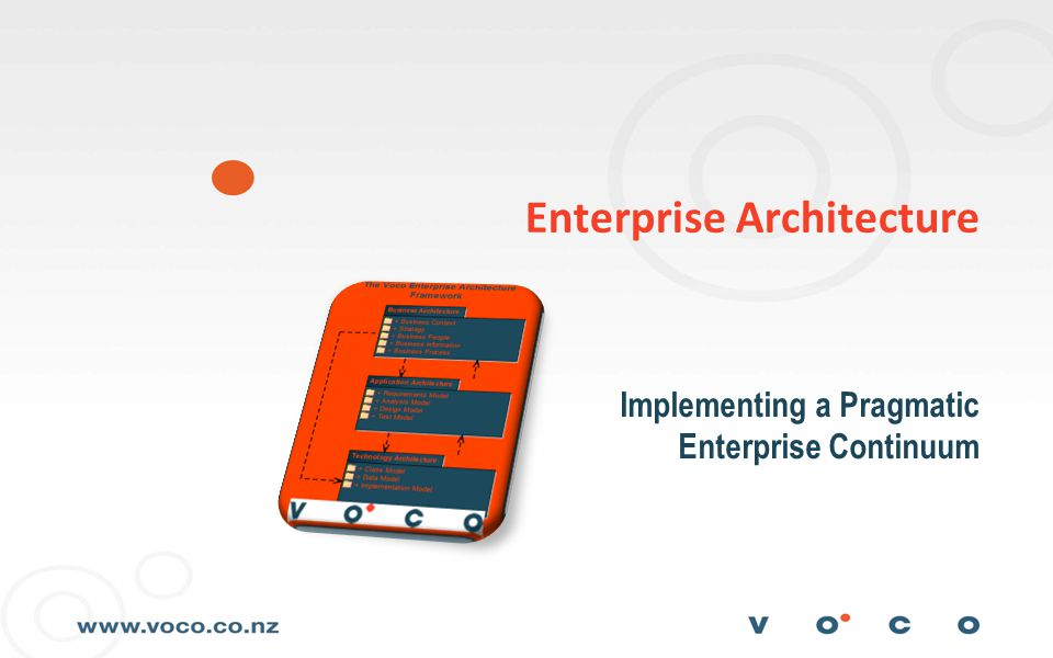2 Introduction This Session Covers;  Definition and Motivation  Frameworks  The Architecture Practice  The Enterprise Model  Discussion on the extent of the Model