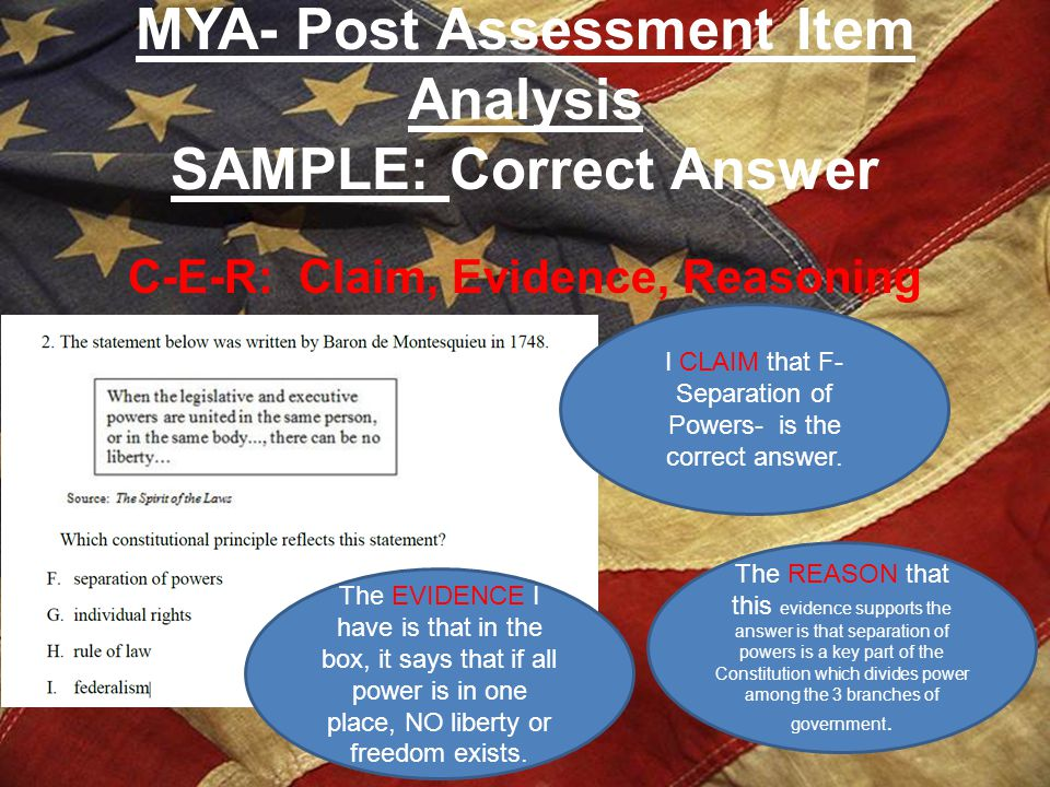 MYA- Post Assessment Item Analysis SAMPLE: Correct Answer C-E-R: Claim, Evidence, Reasoning I CLAIM that F- Separation of Powers- is the correct answe