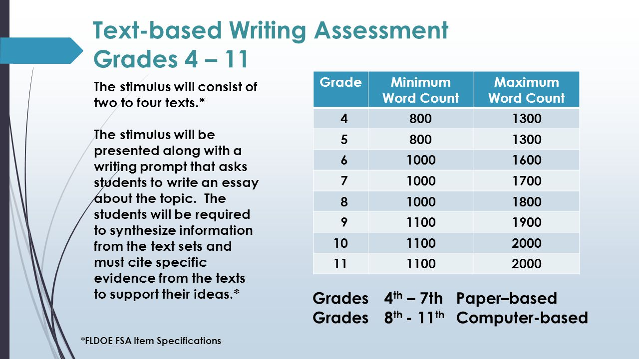 Text-based Writing Assessment Grades 4 – 11 The stimulus will consist of two to four texts.* The stimulus will be presented along with a writing prompt that asks students to write an essay about the topic.