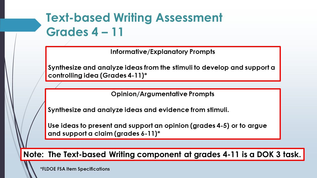 Text-based Writing Assessment Grades 4 – 11 Informative/Explanatory Prompts Synthesize and analyze ideas from the stimuli to develop and support a controlling idea (Grades 4-11)* Note: The Text-based Writing component at grades 4-11 is a DOK 3 task.