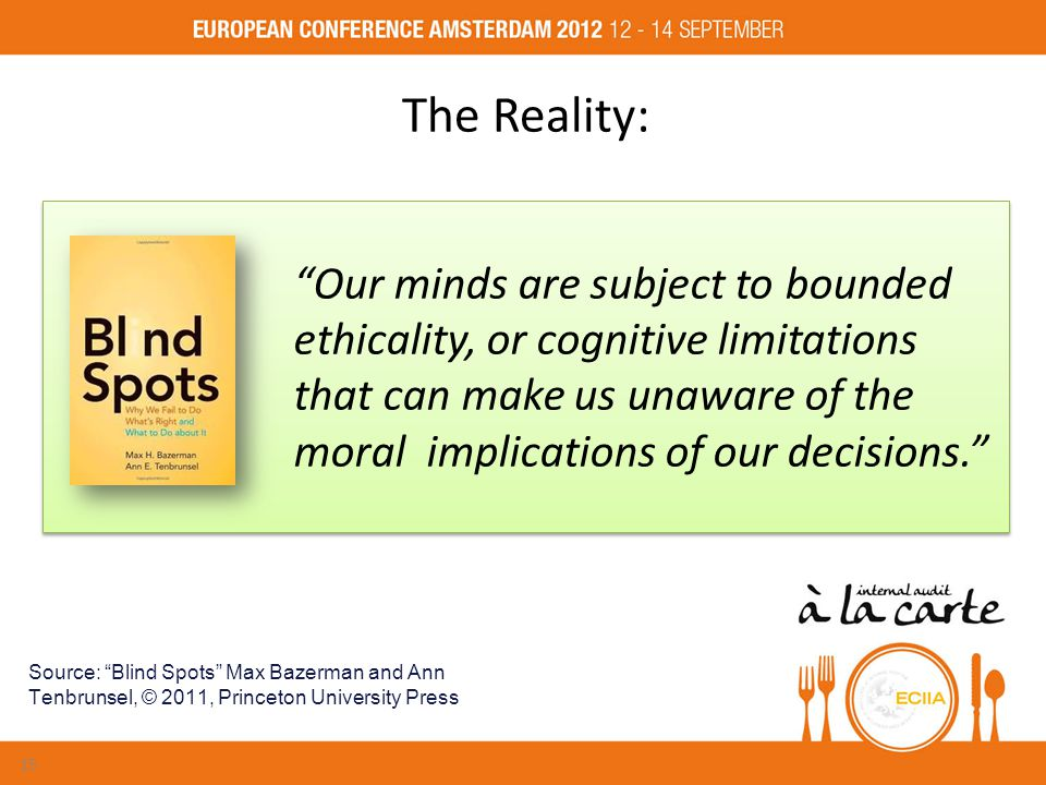 Our minds are subject to bounded ethicality, or cognitive limitations that can make us unaware of the moral implications of our decisions. The Reality: Source: Blind Spots Max Bazerman and Ann Tenbrunsel, © 2011, Princeton University Press 15