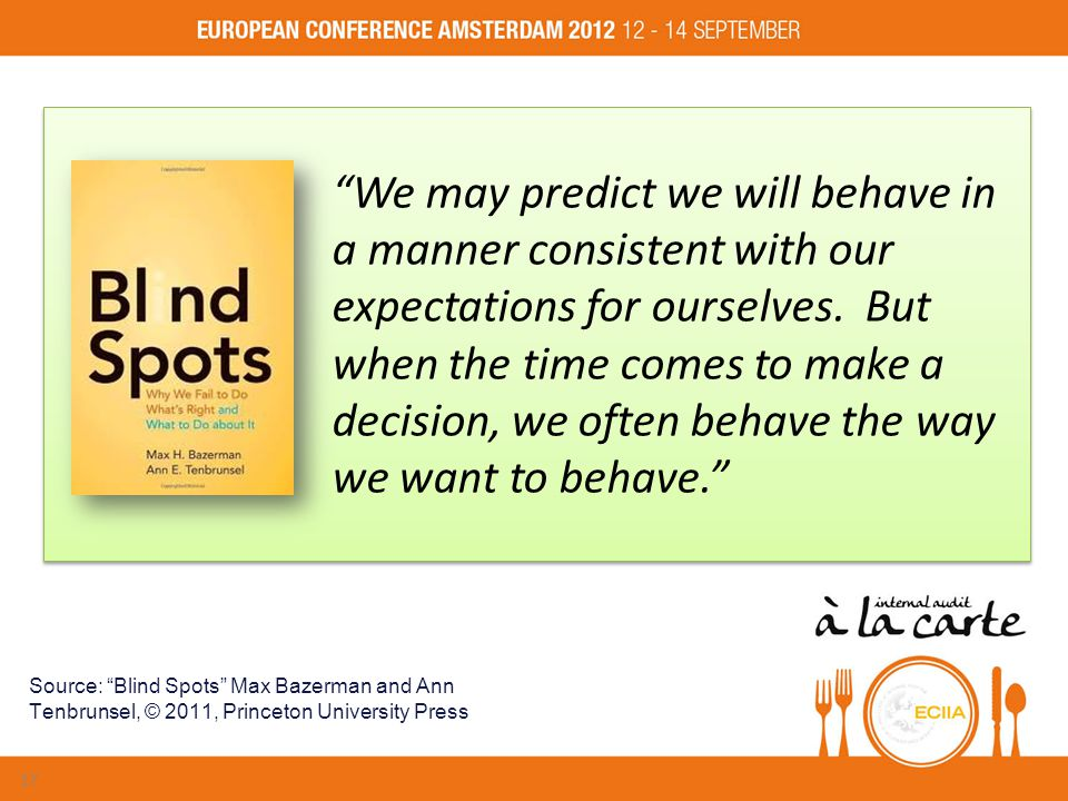 We may predict we will behave in a manner consistent with our expectations for ourselves.