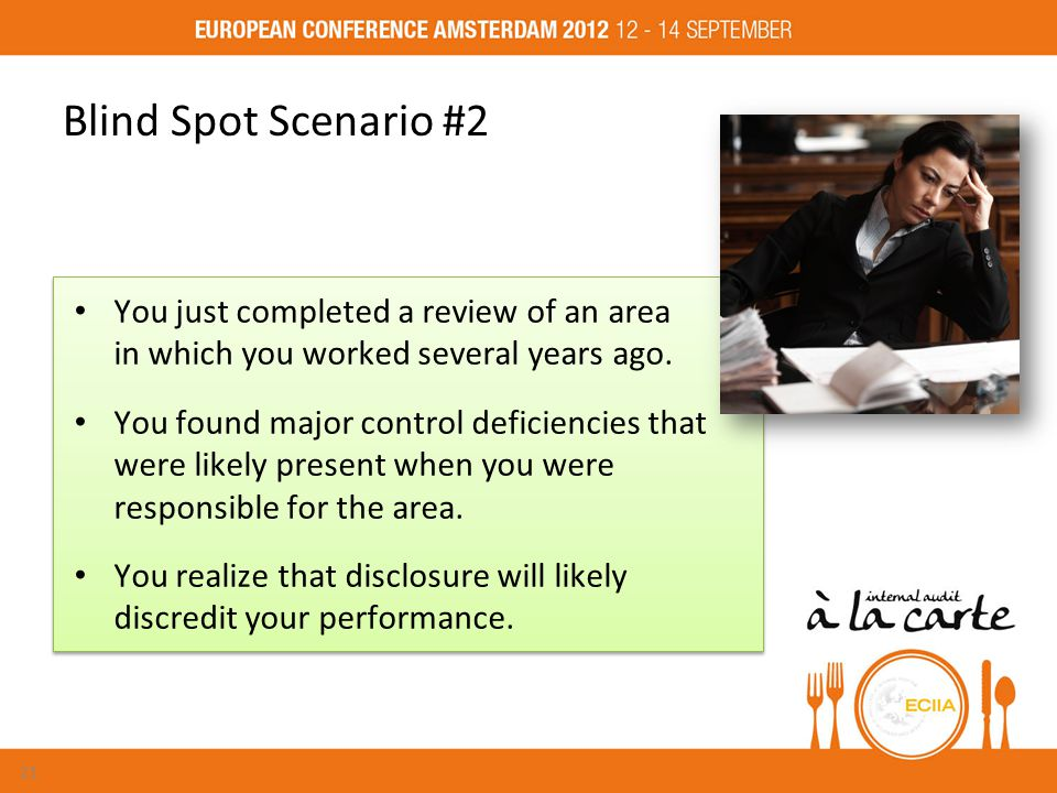 Blind Spot Scenario #2 You just completed a review of an area in which you worked several years ago.