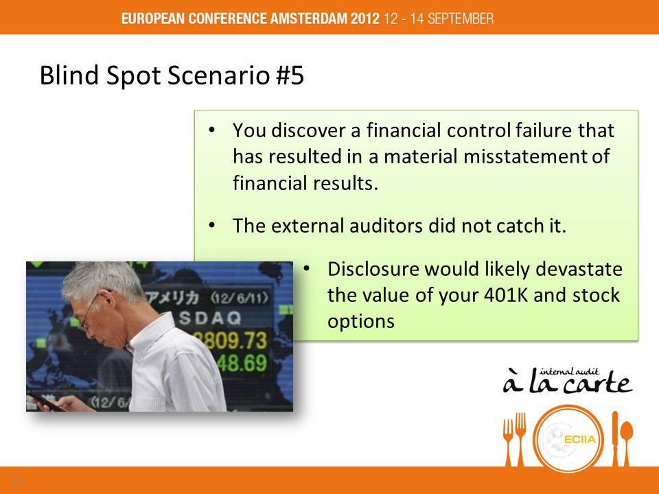 Blind Spot Scenario #5 You discover a financial control failure that has resulted in a material misstatement of financial results.