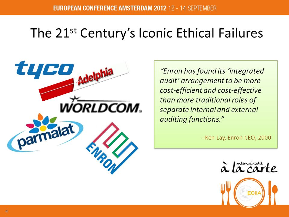 The 21 st Century's Iconic Ethical Failures Enron has found its 'integrated audit' arrangement to be more cost-efficient and cost-effective than more traditional roles of separate internal and external auditing functions. - Ken Lay, Enron CEO, 2000 Enron has found its 'integrated audit' arrangement to be more cost-efficient and cost-effective than more traditional roles of separate internal and external auditing functions. - Ken Lay, Enron CEO, 2000 4