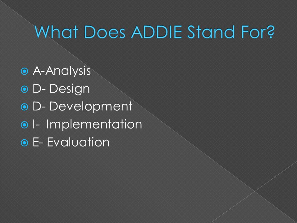  A-Analysis  D- Design  D- Development  I- Implementation  E- Evaluation