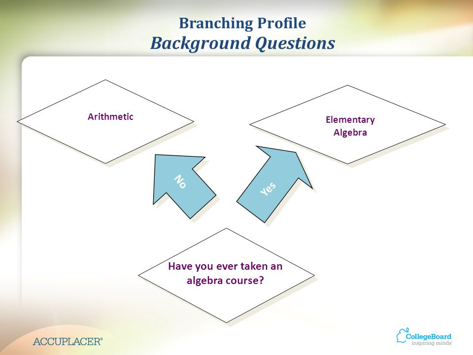 Branching Profile Background Questions Elementary Algebra Have you ever taken an algebra course.