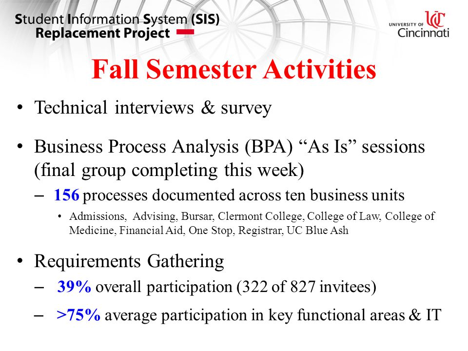 Fall Semester Activities Technical interviews & survey Business Process Analysis (BPA) As Is sessions (final group completing this week) – 156 processes documented across ten business units Admissions, Advising, Bursar, Clermont College, College of Law, College of Medicine, Financial Aid, One Stop, Registrar, UC Blue Ash Requirements Gathering – 39% overall participation (322 of 827 invitees) – >75% average participation in key functional areas & IT