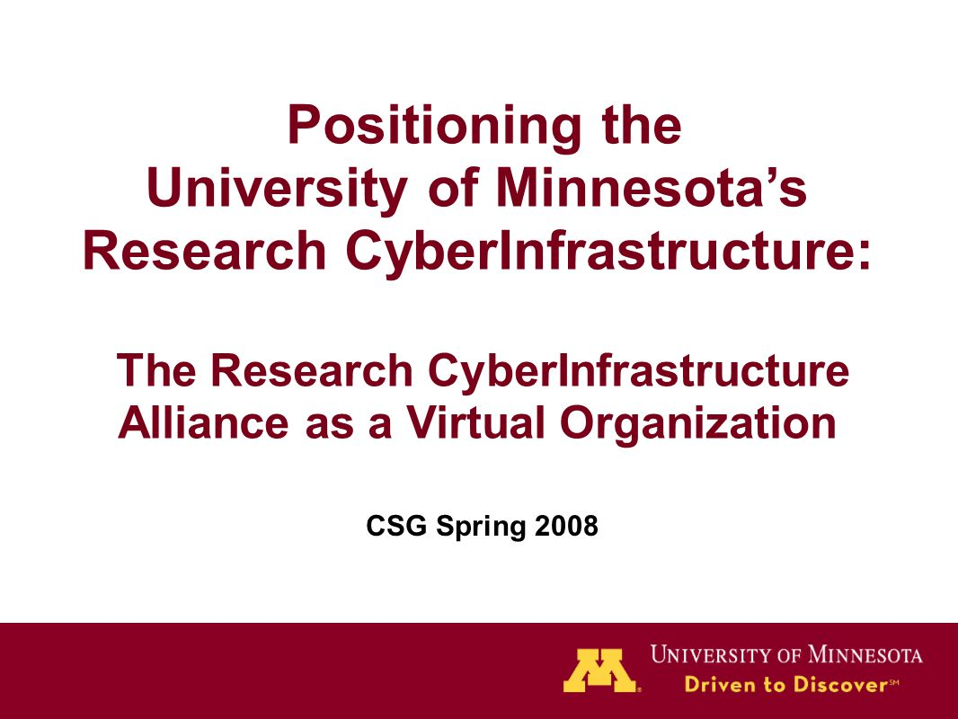 Positioning the University of Minnesota's Research CyberInfrastructure: The Research CyberInfrastructure Alliance as a Virtual Organization CSG Spring 2008