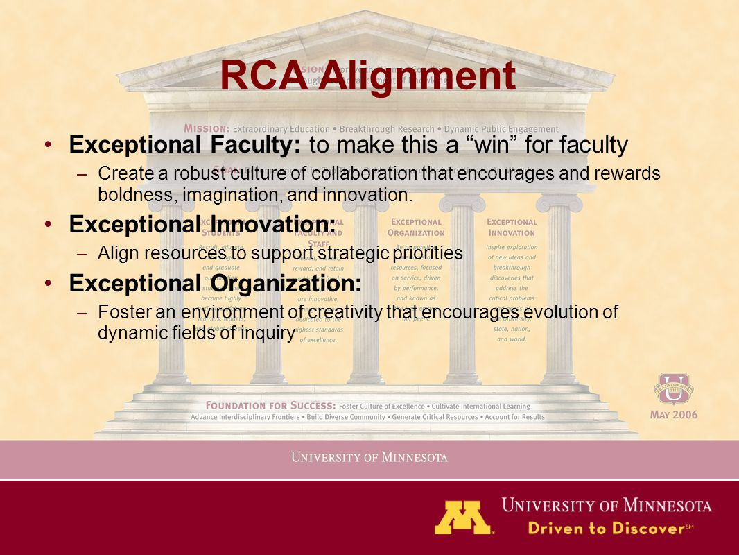RCA Alignment Exceptional Faculty: to make this a win for faculty –Create a robust culture of collaboration that encourages and rewards boldness, imagination, and innovation.