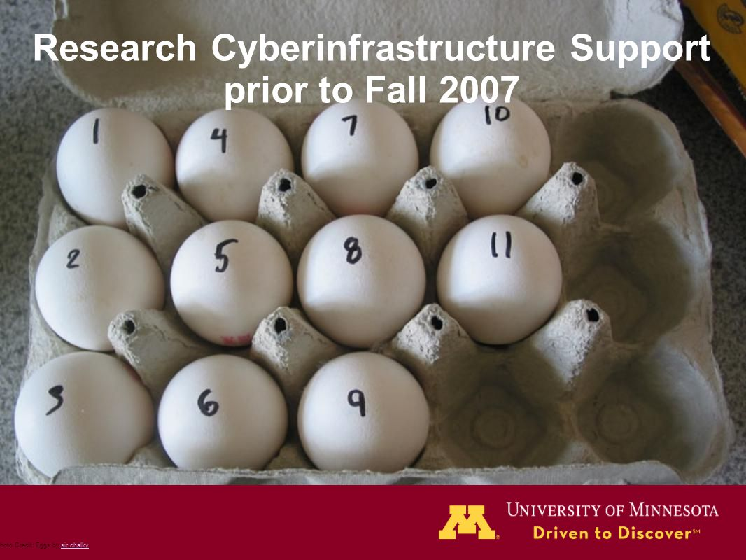 Research Cyberinfrastructure Support prior to Fall 2007 Photo Credit: Eggs by sir chalkysir chalky