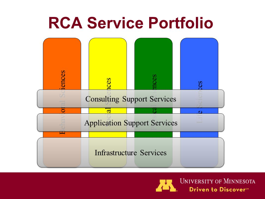 RCA Service Portfolio Behavioral Sciences Social Sciences Physical Sciences Life Sciences Infrastructure Services Application Support Services Consult