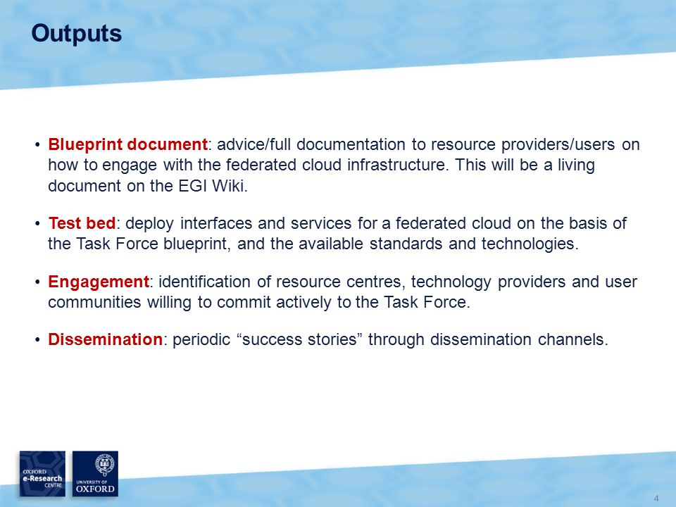 4 Outputs Blueprint document: advice/full documentation to resource providers/users on how to engage with the federated cloud infrastructure.