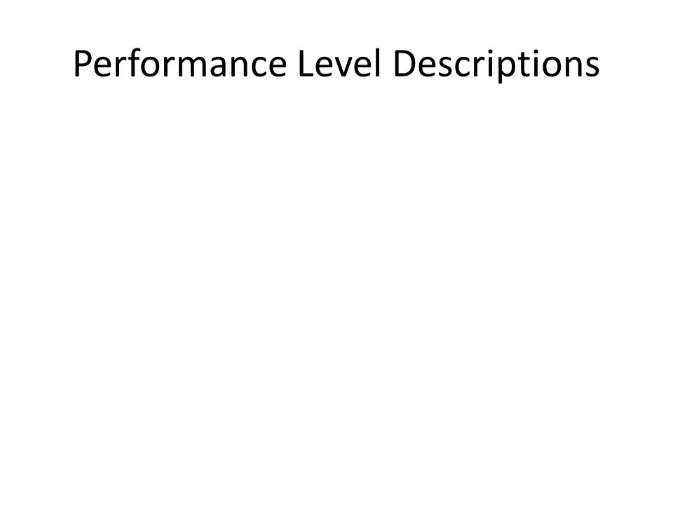 Performance Level Descriptions