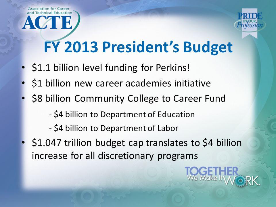 FY 2013 President's Budget $1.1 billion level funding for Perkins.