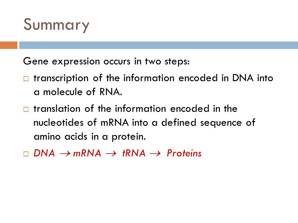 Summary Gene expression occurs in two steps:  transcription of the information encoded in DNA into a molecule of RNA.  translation of the informatio