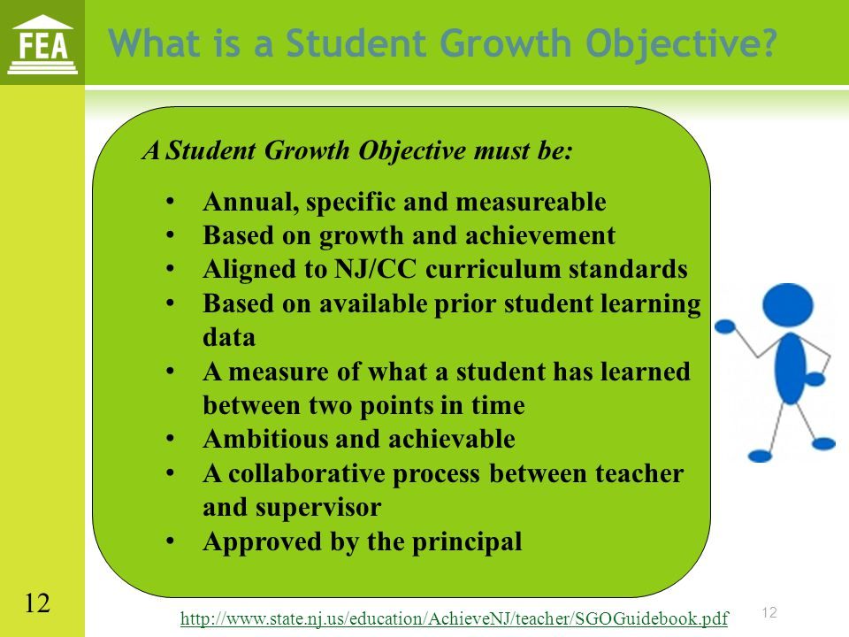 12 What is a Student Growth Objective? A Student Growth Objective must be: Annual, specific and measureable Based on growth and achievement Aligned to