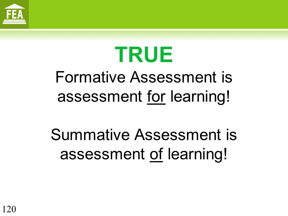 TRUE Formative Assessment is assessment for learning! Summative Assessment is assessment of learning! 120