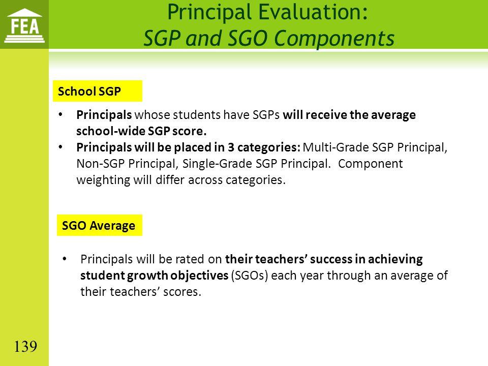 Principal Evaluation: SGP and SGO Components Principals whose students have SGPs will receive the average school-wide SGP score. Principals will be pl