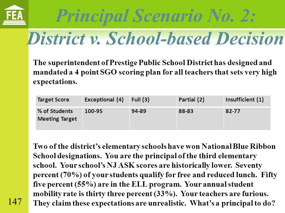 Principal Scenario No. 2: District v. School-based Decision The superintendent of Prestige Public School District has designed and mandated a 4 point