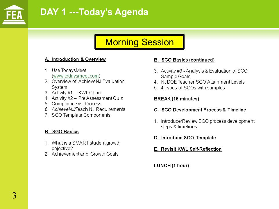 DAY 1 ---Today's Agenda A. Introduction & Overview 1.Use TodaysMeet (www.todaysmeet.com)www.todaysmeet.com 2.Overview of AchieveNJ Evaluation System 3