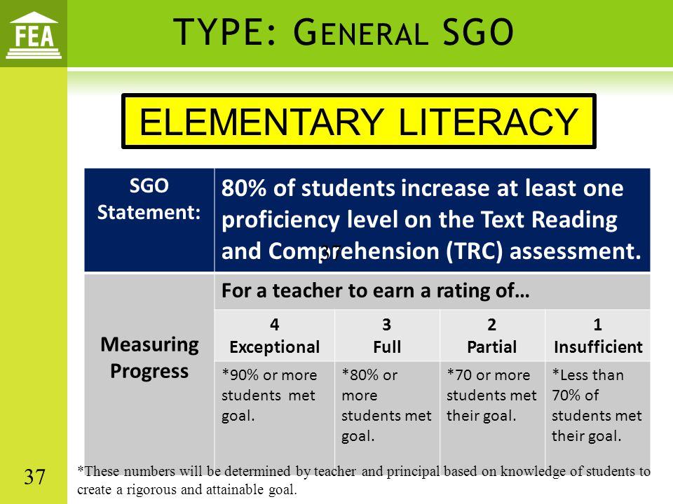 TYPE: G ENERAL SGO SGO Statement: 80% of students increase at least one proficiency level on the Text Reading and Comprehension (TRC) assessment. Meas