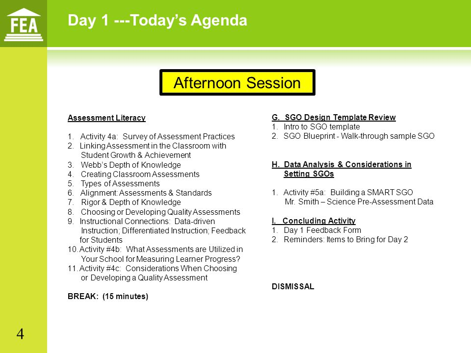 Day 1 ---Today's Agenda Assessment Literacy 1. Activity 4a: Survey of Assessment Practices 2.Linking Assessment in the Classroom with Student Growth &