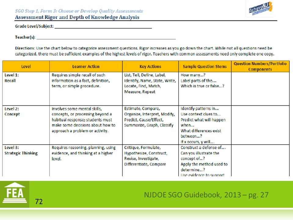 NJDOE SGO Guidebook, 2013 – pg. 27 72