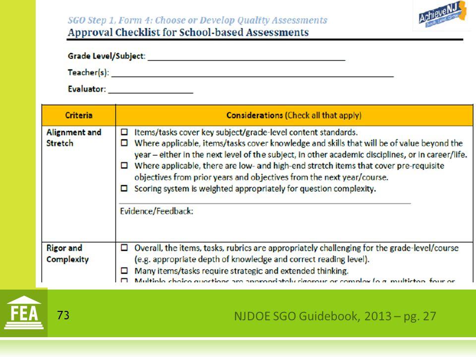 NJDOE SGO Guidebook, 2013 – pg. 27 73