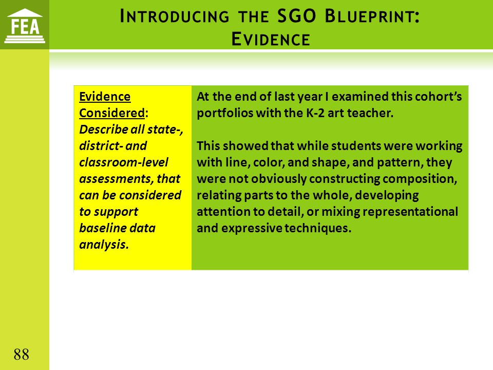 I NTRODUCING THE SGO B LUEPRINT : E VIDENCE Evidence Considered: Describe all state-, district- and classroom-level assessments, that can be considere