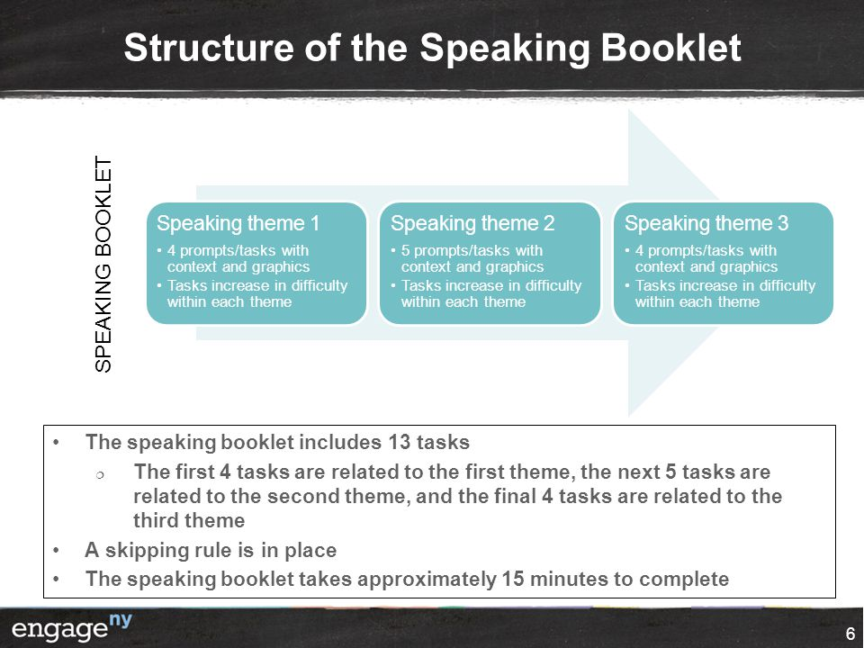 Structure of the Speaking Booklet 6 Speaking theme 1 4 prompts/tasks with context and graphics Tasks increase in difficulty within each theme Speaking