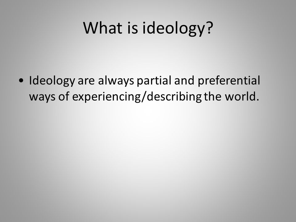 What is ideology.