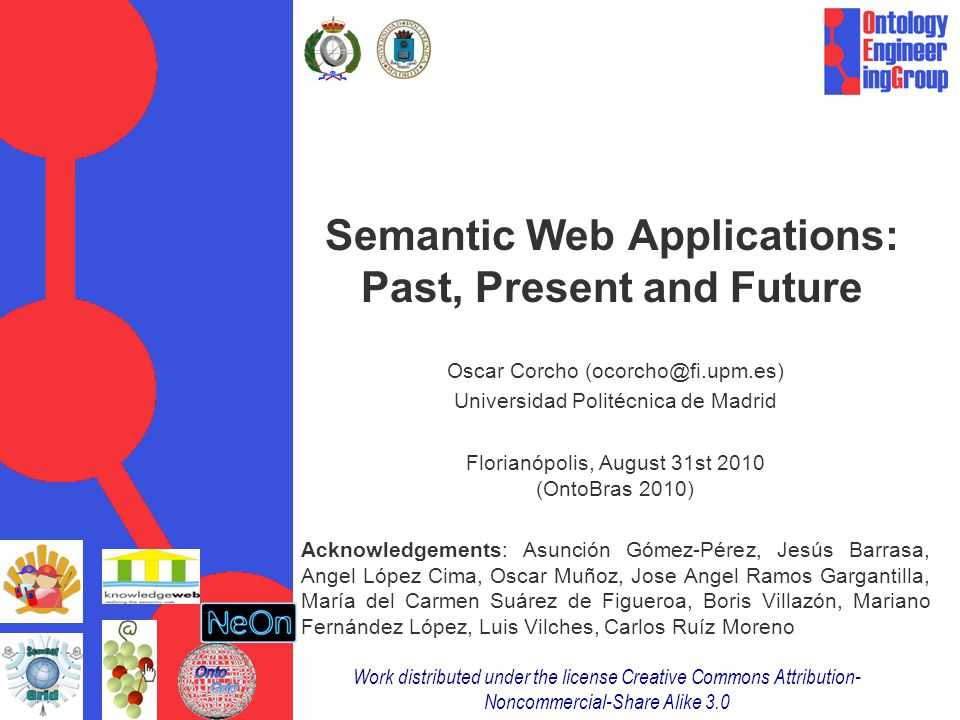 Overview Coming to terms: The Web (1.0 and 2.0), the Semantic Web, the Web of Linked Data and all its applications The Web (1.0 and 2.0) Web applications The Semantic Web (pre-SemanticWeb, SW1.0 and SW3.0) Semantic Web Applications Or [Semantic   Web]+ Applications The Web of Linked Data Linked Data Applications Semantic-based Applications preSemanticWeb Applications Annotation Semantic Web 1.0 Applications Annotation, Data Integration and Decision Support Systems Semantic Web 3.0 Applications (Collaborative) Annotation and Data Integration Conclusions and Trends