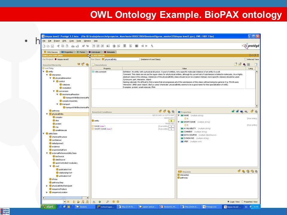 OWL Ontology Example. BioPAX ontology http://www.biopax.org/release/biopax-level2.owl