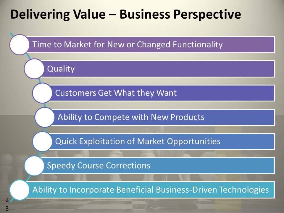 23 Time to Market for New or Changed Functionality Quality Customers Get What they Want Ability to Compete with New Products Quick Exploitation of Market Opportunities Speedy Course Corrections Ability to Incorporate Beneficial Business-Driven Technologies Delivering Value – Business Perspective