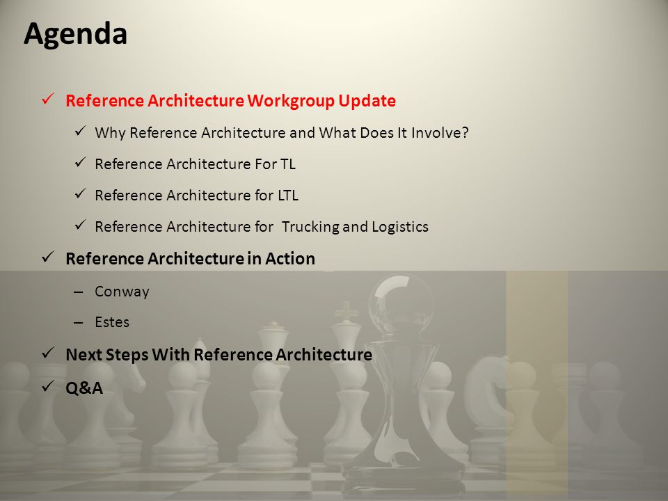 Agenda Reference Architecture Workgroup Update Why Reference Architecture and What Does It Involve.