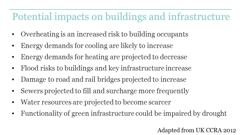 Potential impacts on buildings and infrastructure Overheating is an increased risk to building occupants Energy demands for cooling are likely to incr