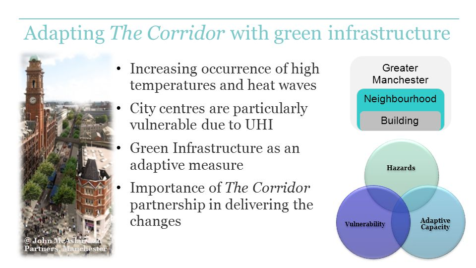 Adapting The Corridor with green infrastructure Increasing occurrence of high temperatures and heat waves City centres are particularly vulnerable due