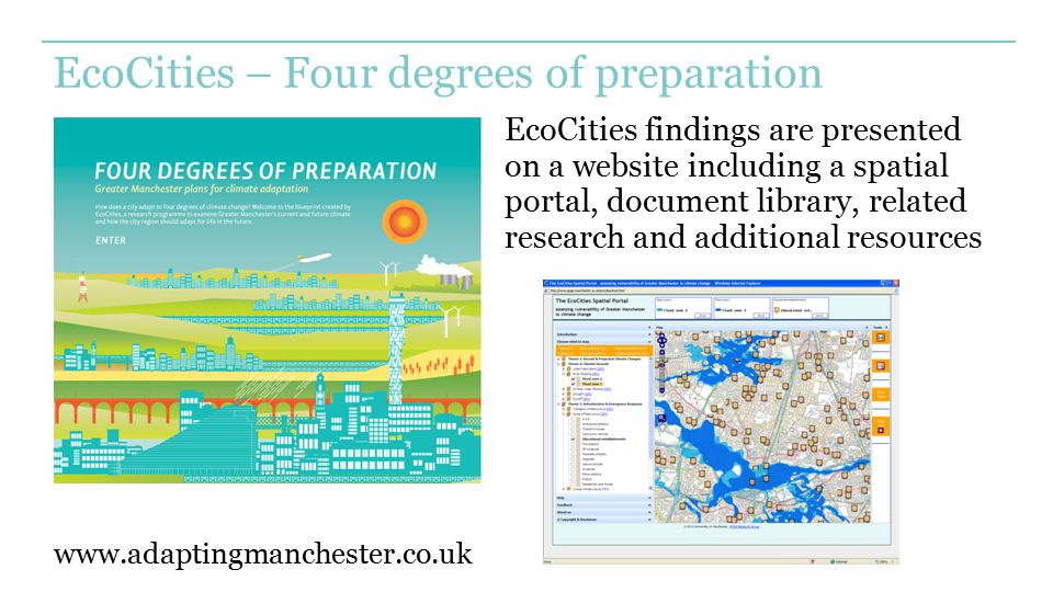 EcoCities – Four degrees of preparation EcoCities findings are presented on a website including a spatial portal, document library, related research a