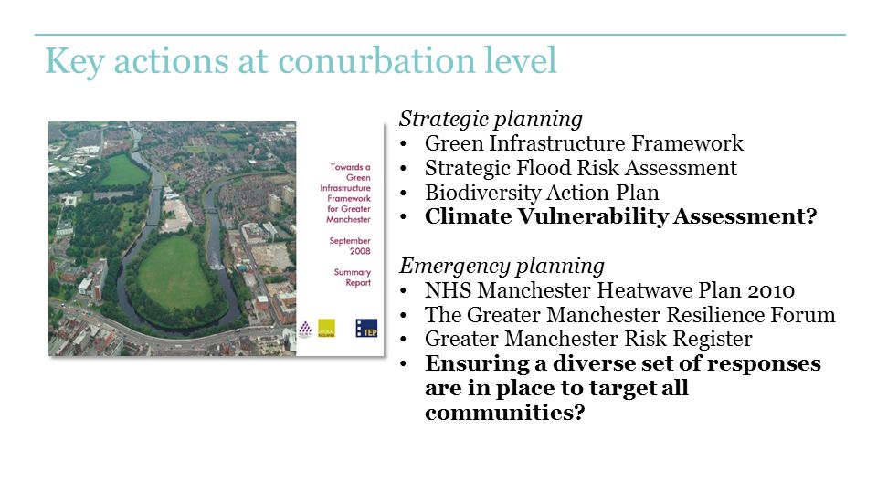 Key actions at conurbation level Strategic planning Green Infrastructure Framework Strategic Flood Risk Assessment Biodiversity Action Plan Climate Vu