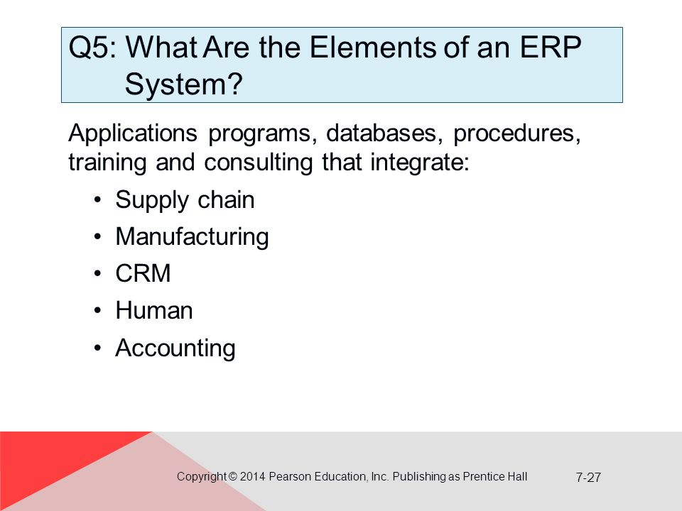 7-27 Q5: What Are the Elements of an ERP System.