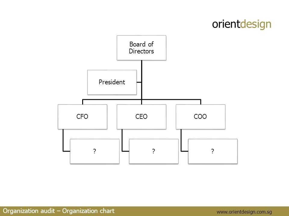 orientdesign www.orientdesign.com.sg Organization audit – Organization chart