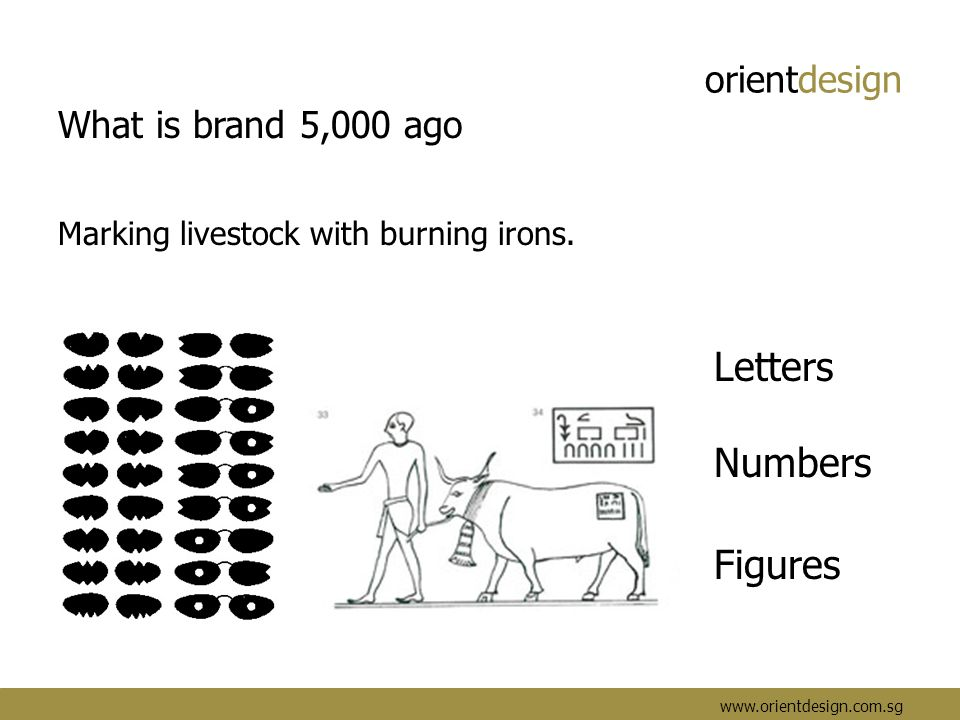 orientdesign www.orientdesign.com.sg What is brand 5,000 ago Marking livestock with burning irons. Letters Numbers Figures