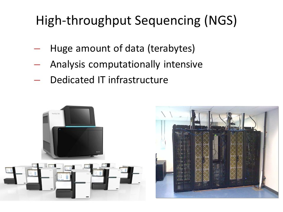 High-throughput Sequencing (NGS) – Huge amount of data (terabytes) – Analysis computationally intensive – Dedicated IT infrastructure