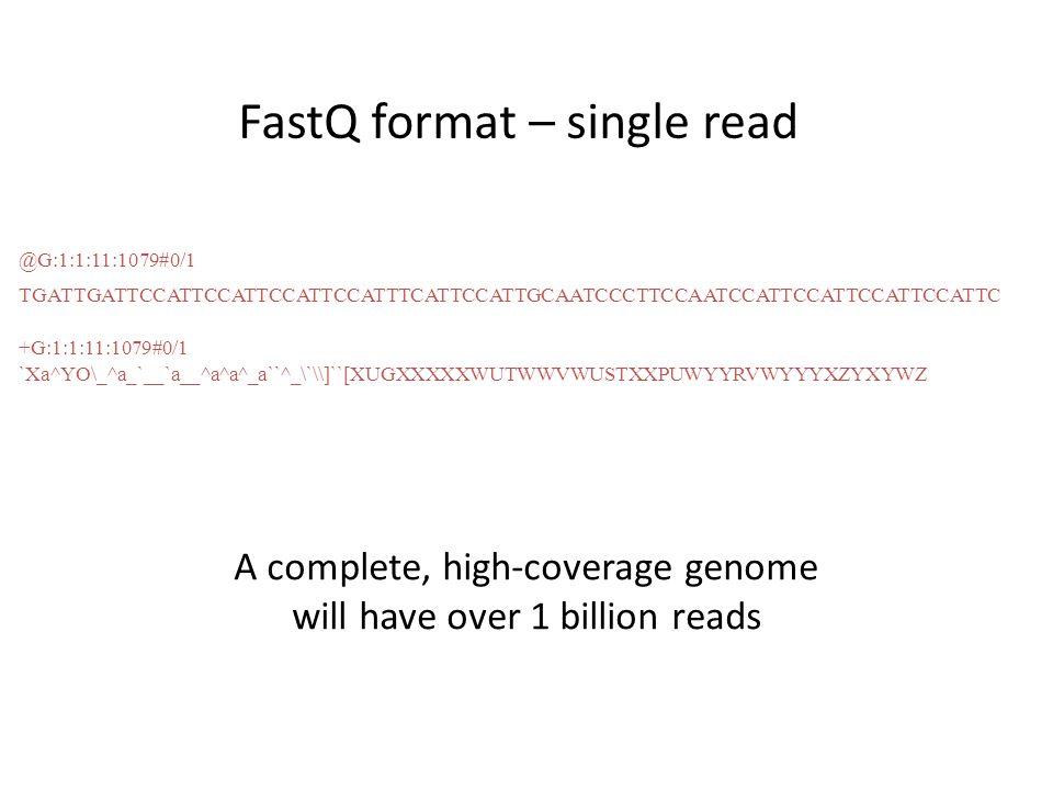 FastQ format – single read @G:1:1:11:1079#0/1 TGATTGATTCCATTCCATTCCATTCCATTTCATTCCATTGCAATCCCTTCCAATCCATTCCATTCCATTCCATTC +G:1:1:11:1079#0/1 `Xa^YO\_^a_`__`a__^a^a^_a``^_\`\\]``[XUGXXXXXWUTWWVWUSTXXPUWYYRVWYYYXZYXYWZ A complete, high-coverage genome will have over 1 billion reads